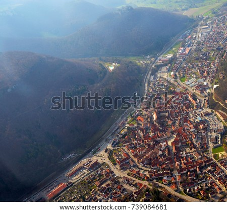 Bad Reutlingen aerial view historic center bad urach stock photo royalty free