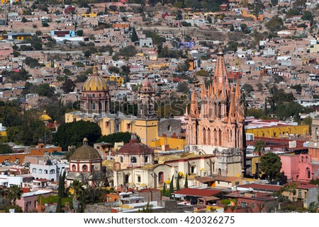 aerial view of the historic center of san miguel de allende mexico - stock photo
