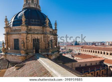 Aerial view of the historic city of Salamanca at sunrise, Castilla y Leon region, Spain - stock photo
