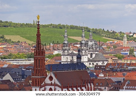Aerial view of the historic city of Wuerzburg, region of Franconia, Northern Bavaria, Germany. The town is located on the Main River. The centre of Wuerzburg is surrounded by hills and vineyards. - stock photo