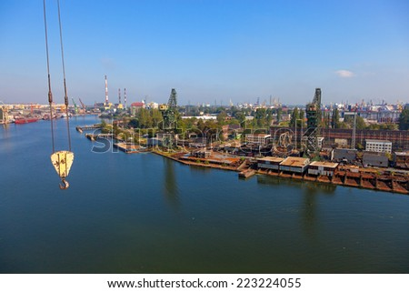 Aerial view of the industrial landscape shipyard in Gdansk, Poland. - stock photo