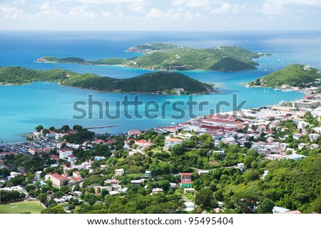 Aerial view of the island of St Thomas, USVI. Charlotte Amalie - cruise bay. - stock photo