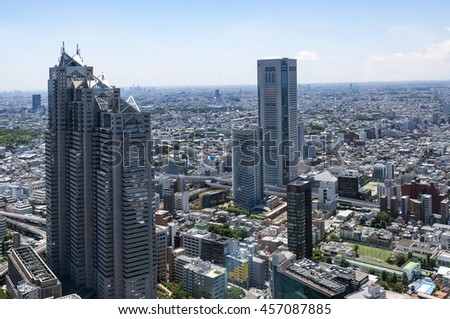 Aerial view of the Japanese capital city seen from the Metropolitan Government Building (Tokyo City Hall) - stock photo