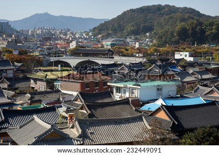 aerial view of the Jeonju, a traditional Korean village. - stock photo