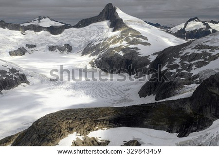 Aerial view of the Juneau Icefields in Alaska, USA. - stock photo