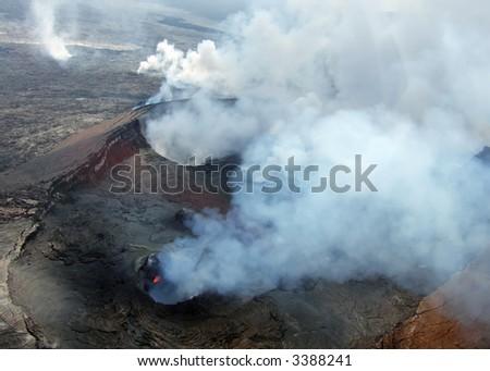 Aerial view of the Kilauea Volcano on the Big Island of Hawaii. - stock photo