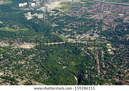 aerial view of the Kingston road area in Scarborough Ontario Canada - stock photo