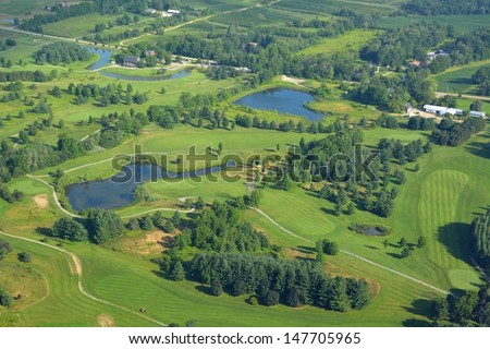 aerial view of the Knollwood golf course in Ancaster, Ontario Canada - stock photo