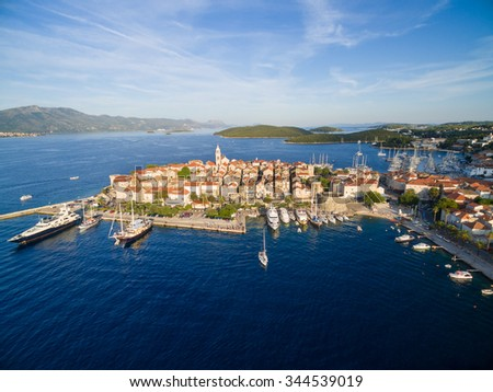 Aerial view of the Korcula island, Croatia. - stock photo