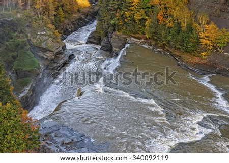 Aerial View Of The Lower Falls At Letchworth State Park In New York - stock photo
