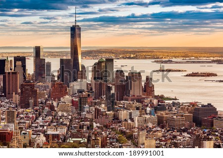 Aerial view of the Lower Manhattan at sunset - stock photo