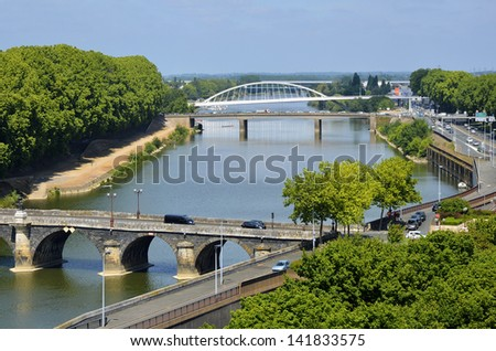 Aerial view of The Maine river and bridges of the town of Angers in the Maine-et-Loire department in western France about 300 km (190 mi) south-west of Paris