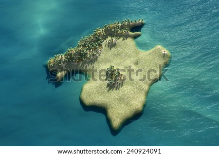 Aerial view of the Majorca island in Spain - stock photo