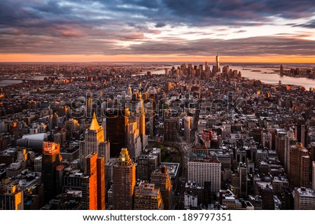 Aerial view of the Manhattan skyline at sunset - stock photo