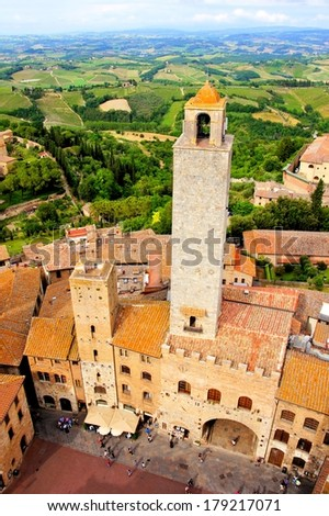 Aerial view of the medieval town of San Gimignano, Tuscany, Italy - stock photo