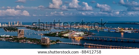 Aerial view of the Miami Seaport, Miami Beach and Watson Island in Florida. - stock photo
