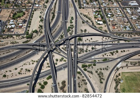 Aerial view of the Mini Stack in Phoenix, Arizona - stock photo