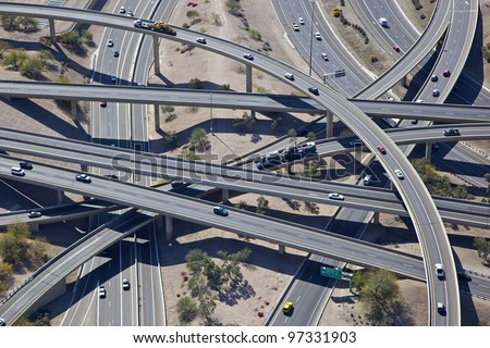 Aerial view of the Mini Stack Interchange - stock photo