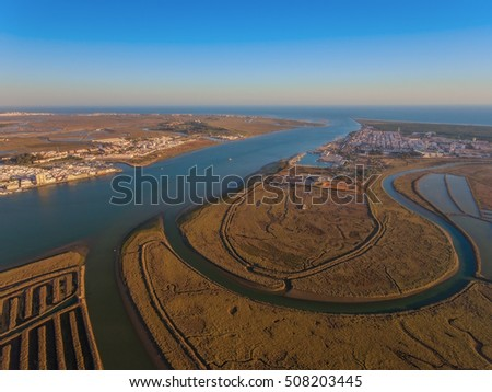 Aerial view of the mouth of the Guadiana river. Villa Real Santo Antonio. POrtugal.
