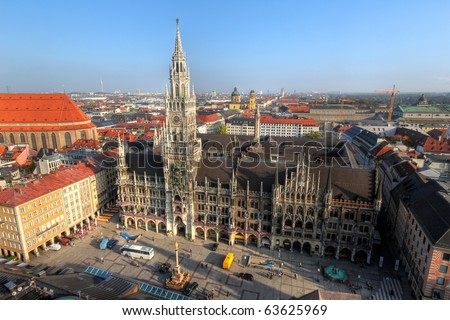 Aerial view of the Munich central square - Marienplatz and the New Town Hall, Germany - stock photo
