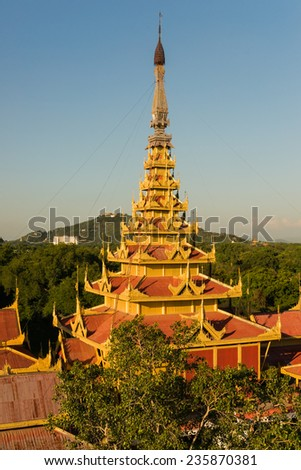 Aerial view of the Myey Nan Taw, the building housing the Lion Throne, at the Mandalay Royal Palace compound - stock photo