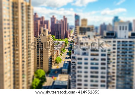Aerial view of the 2nd Avenue, Upper East Side, Manhattan, New York City. Tilt-shift effect applied - stock photo