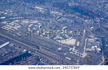 Aerial view of the Newark International Airport in New Jersey, USA - stock photo