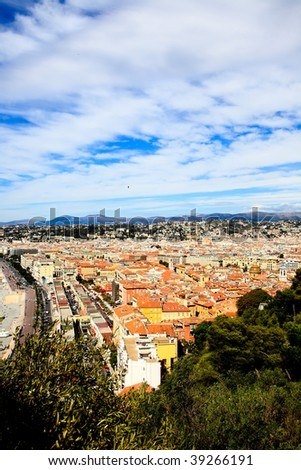 aerial view of the Nice old town France