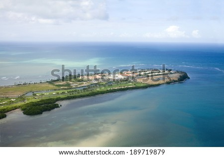 Aerial view of the Northeast side of Puerto Rico.  Shown is the area North of Rio Grande and the Gran Melia region. - stock photo
