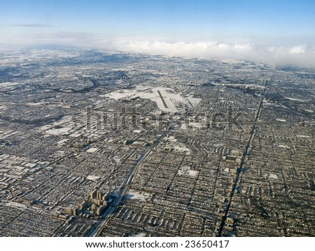 Aerial view of the northern end of Toronto, Canada, in winter. - stock photo
