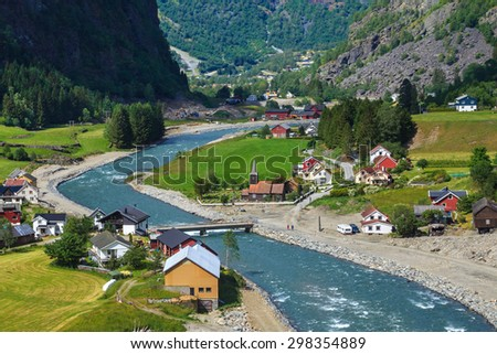 Aerial view of the Norwegian village Flam in the summer. - stock photo