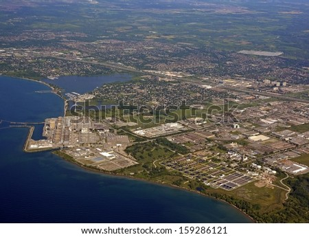 aerial view of the  Nuclear Generating Station in Pickering Ontario Canada - stock photo