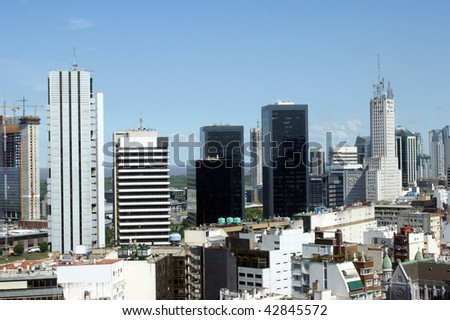Aerial view of the office buildings in downtown Buenos Aires - stock photo
