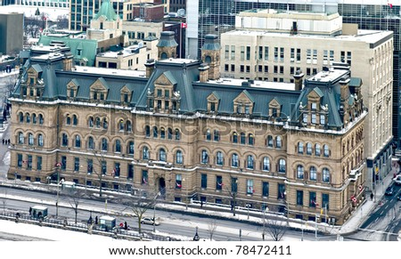 Aerial view of the Office of the Prime Minister of Canada. The Langevin Block. - stock photo