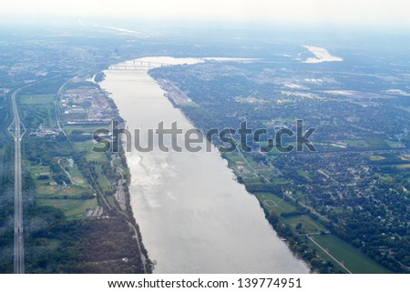 Aerial View of the Ohio River between Jeffersonville, Indiana and Louisville, Kentucky  - stock photo