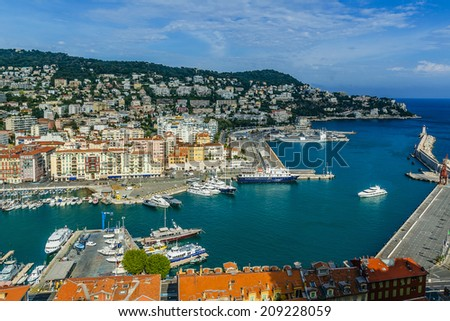Aerial view of the old harbor Lympia and the city architecture. Port was built in 1745. Cote d'Azur, France.