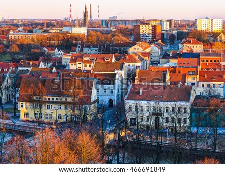 Aerial view of the Old town district. Klaipeda city in the evening time. Klaipeda, Lithuania.