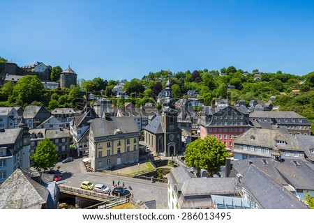 Aerial view of the Old Town of Monschau at summer, germany - stock photo