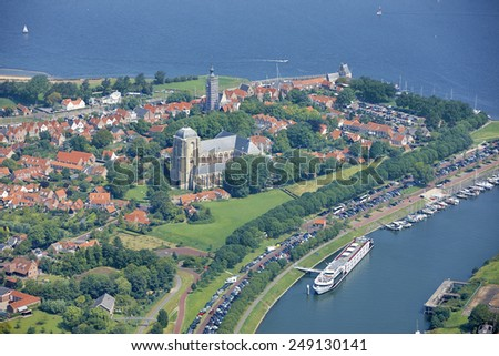 Aerial view of the old town of Veere, province of Zeeland, the Netherlands - stock photo