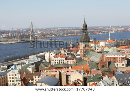 Aerial view of the old town (Riga, Latvia)