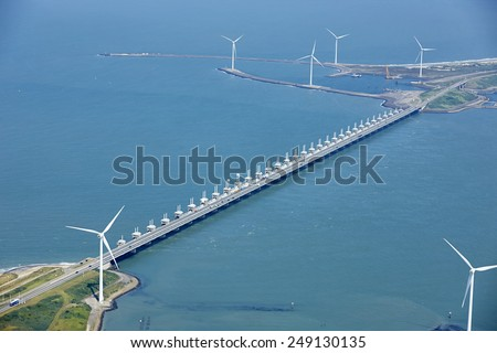 Aerial view of the Oosterscheldekering, Vrouwenpolder, province of Zeeland, the Netherlands