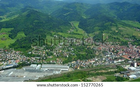 aerial view of the Ortenau region with the town of Gengenbach in the Kinzigtal in Baden, Germany