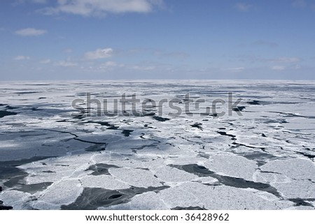 Aerial view of the packice in the Canadian Arctic - stock photo