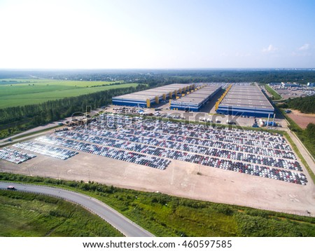 Aerial view of the Parking at the motor works