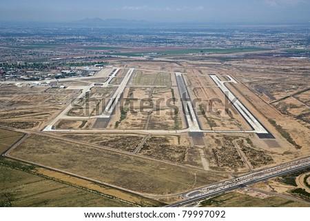 Aerial view of the Phoenix-Mesa Gateway Airport in east Mesa, Arizona - stock photo