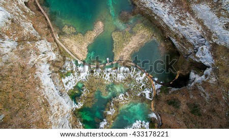 Aerial View of the Plitvice Lakes National Park, Croatia - stock photo
