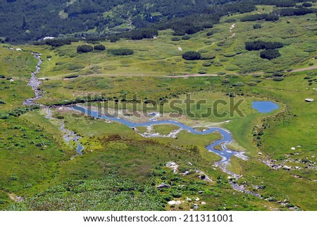 Aerial view of the pond and the stream in the Rila national park in Bulgaria - stock photo