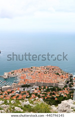 Aerial view of the popular seaside tourist destination of Dubrovnik, the filming location of a popular TV series, in Croatia - stock photo
