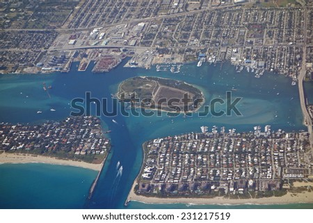 Aerial view of the Port of West Palm Beach, Florida and Peanut Island - stock photo