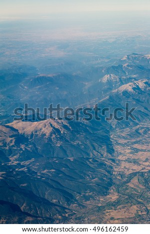 Aerial view of the Pyrenees mountains